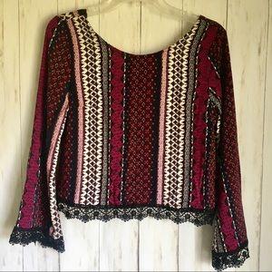 Paisley Crochet Lace Boho Crop TOP M NWT